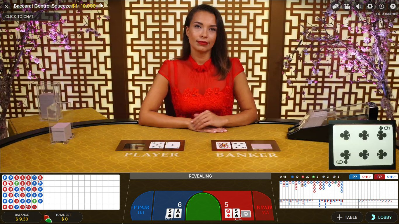 Live Baccarat Control Squeeze from Evolution Gaming